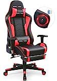GTPLAYER Gaming Stuhl mit Fußstützen Bluetooth Lautsprecher Musik Stuhl Ergonomischer Computerstuhl Schreibtischstuhl Schwarz-Rot gtracing Series