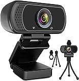 Webcam HD 1080p Webkamera, USB PC Computer Webcam mit Mikrofon, Laptop Desktop Full HD Kamera Video Webcam 110-Grad-Breitbild, Pro Streaming Webcam zum Aufzeichnen, Anrufen, Konferenzen, Spielen