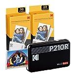 Kodak P210 Mini 2 Retro, Mobiler Fotodrucker, Kompatibel mit Smartphone (iOS & Android), Bluetooth, 54x86 mm, 4Pass-Technologie, Laminierung, 6 Kartuschen, 68 Blatt, Schwarz