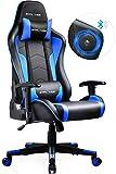 GTPLAYER Gaming Stuhl mit Lautsprecher Bürostuhl Schreibtischstuhl Musik Audio Gamer Stuhl Drehstuhl Ergonomisches Design PC Stuhl Multi-Funktion E-Sports Chefsessel blau gtracing Series