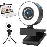 Webcam für PC mit Ringlicht, Webcam mit Mikrofon 2K mit Autofokus, USB Webcam mitAbdeckungundStativ, fürLive-Streaming,Videoanruf,Laptop Video Konferenzen