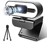 Webcam mit Mikrofon, HD 1080P Webcam mit Stativ, Web-Kamera für PC/Desktop/Laptop, USB-Streaming-Webcam für Skype, Zoom, YouTube, Xbox One, Gaming