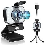 4K Webcam mit Ringlicht, Full HD Facecam Live-Streaming Webcams mit Mikrofon, Stativ, USB Web Kamera für Video Chat Aufnahme, PC Laptop Mac Windows,Skype/YouTube/Xsplit/Zoom/Konferenz/Spielen