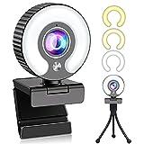 Webcam mit mikrofon, 1080P Webcam Full HD Web cam Live-Streaming Webcam mit Ringlicht und Stativ, USB 2.0 Plug & Play, Webcam 1080P Kamera für Meetings und Videoaufnahmen und Live Übertragungen
