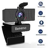 Beneno HD-Webcam 1080P mit Mikrofon, Autofokus-USB-Webcam-Computerkamera, 110-Grad-Live-Streaming-Breitbild-Webcam für Videoanrufe, Aufzeichnungen, Konferenzen und Spiele