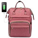 LOVEVOOK Damenrucksack für 15,6 Zoll Laptop, wasserdichte Business Uni Rucksack Schulrucksack, Stylischer Reiserucksack mit USB Ladeanschluss, Hellrot