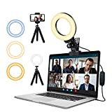 Ringlicht Laptop,Videokonferenz Licht mit Handy Stativ und Clip,FGen Streaming Licht mit 3 Farbe Modi 10 Helligkeitsstufen Webcam Licht für Selfie, Fernarbeit, Video, Live, YouTube, Make-up