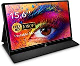 USB Monitor - 15,6 Zoll Tragbarer Monitor IPS Bildschirm 1920×1080 Full HD, Portable Monitor mit USB-C/Typ-C Mini-HDMI für PC, Handy, Xbox, PS4 usw, mit Schutzhülle, Displayschutz
