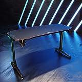 SONNI Gaming Tisch mit LED,140cm großer Oberfläche/PC Tisch/Gaming Desk,2-3 Monitore aufstellbar mit Mausunterlage,Getränkehalterung und Kopfhörerhaken