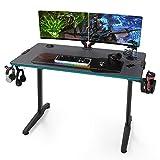 EUREKA ERGONOMIC Gaming Tisch mit LED P44 Gaming Schreibtisch mit RGB Beleuchtung PC Tisch Gaming Gamer Tisch mit Getränkehalter und Kopfhörerhalter 112 * 60 cm Schwarz
