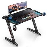 EUREKA ERGONOMIC Gaming Schreibtisch Mit RGB Beleuchtung Gaming Tisch Computertisch 114 * 64 cm (Black)