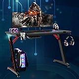 Soontrans Gaming Tisch mit LED Groß Computertisch mit RGB Beleuchtung für Bessere Gamingerlebnis, Gaming Schreibtisch mit Kopfhörerhake und Getränkehalter, XL Tischplatte 120 x 60 cm
