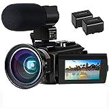 Videokamera 4K Camcorder Ultra HD Wi-Fi Digitalkamera 48MP IR-Nachtsicht 16X Digitalzoom Recorder 3,0' IPS Touchscreen Vlog-Kamera für YouTube mit Mikrofon, Weitwinkelobjektiv, 2 Batterien