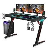 Huracan LED Gaming Tisch Ergonomisch Schreibtisch Groß Computertisch mit RGB Beleuchtung Getränkehalter und Kopfhörerhalter 120 x 60 cm