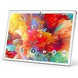 Tablet 10 Zoll Android 9.0 Google Tablet PC mit 2 GB RAM 32 GB ROM Zwei SIM Karte Slot Quad Core,IPS HD Touchscreen, Dual Kamera, WiFi GPS Bluetooth OTG, 3G/2G Telefonanrufen 10' Tablet sliber&weiß