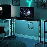 Gaming Tisch mit LED-Beleuchtung Monitorständer für E-Sport Großer Gaming Schreibtisch 3 LED-Modi(120x 60x 78 cm) (schwarz)