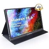 Tragbarer Gaming Monitor Mukesh 15,6 Zoll tragbarer USB C IPS LCD Monitor 1920 × 1080 Externes Full-HD-Display mit Mini-HDMI Typ C für Raspberry Pi-Laptop PC MAC PS4 Xbox-Handy