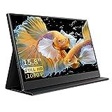 Portable Monitor - 15,8 Zoll Tragbarer Monitor IPS Bildschirm 1920×1080 Full HD mit USB-C/Typ-C/Mini-HDMI für Laptop, PC, MacBook Pro, Xbox, PS4, Phone mit Typ-C Vollfunktion, mit Schutzhülle