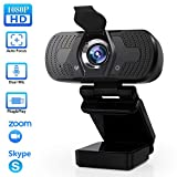 elechok Webcam mit Mikrofon, Full HD 1080P Computer Kamera mit Abdeckung USB PC Webcam mit Cover Laptop Streaming Kamera Für Skype,Zoom,FaceTime, Hangouts, etc.